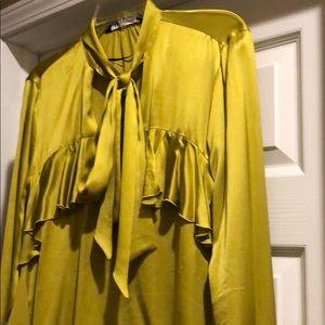 Zara ruffle and bow blouse